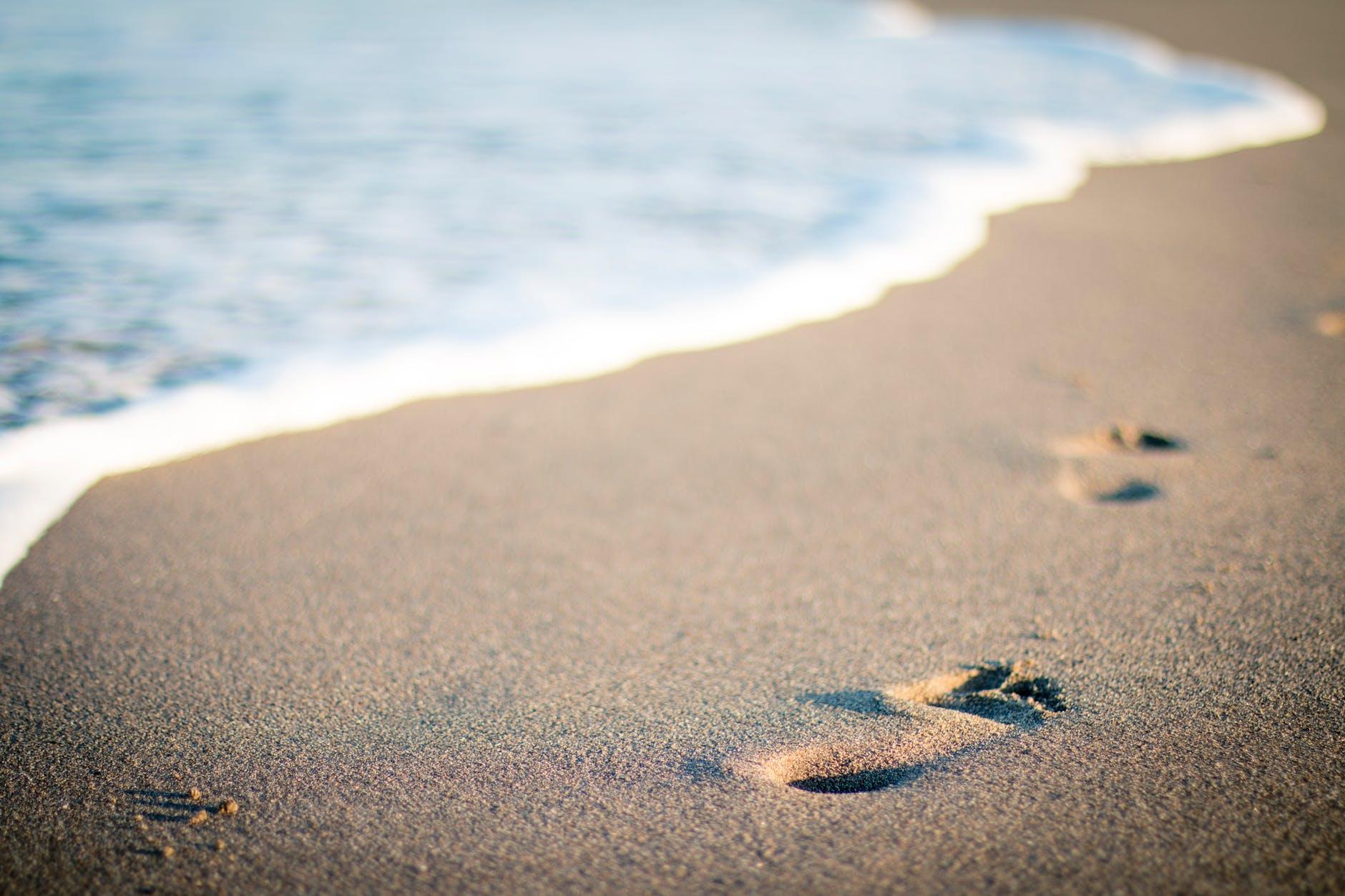 beach water steps sand